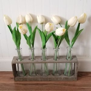 Glass vase wood stand tulips farmhouse home decor
